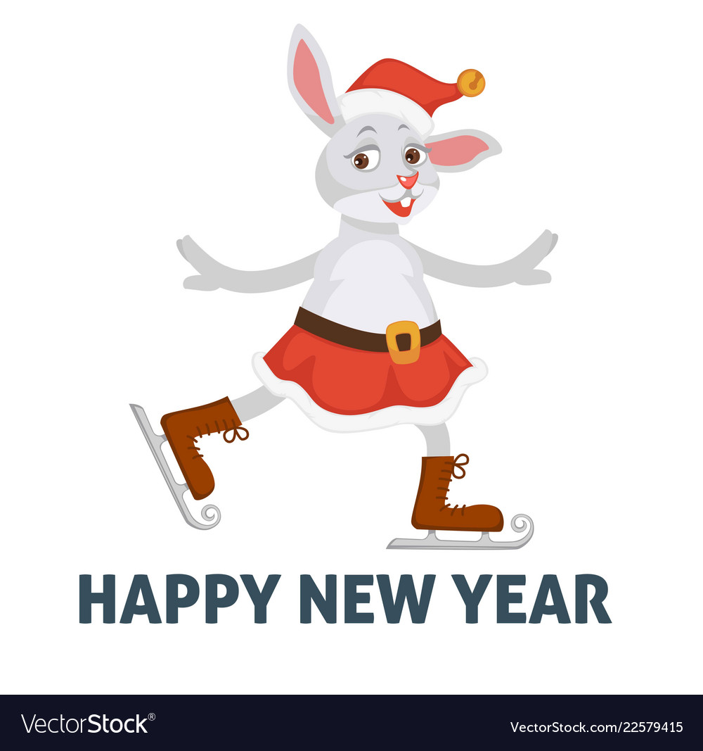 Happy new year poster bunny on skating ice rink