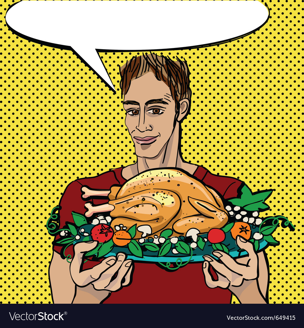 Pop art thanksgiving vector image