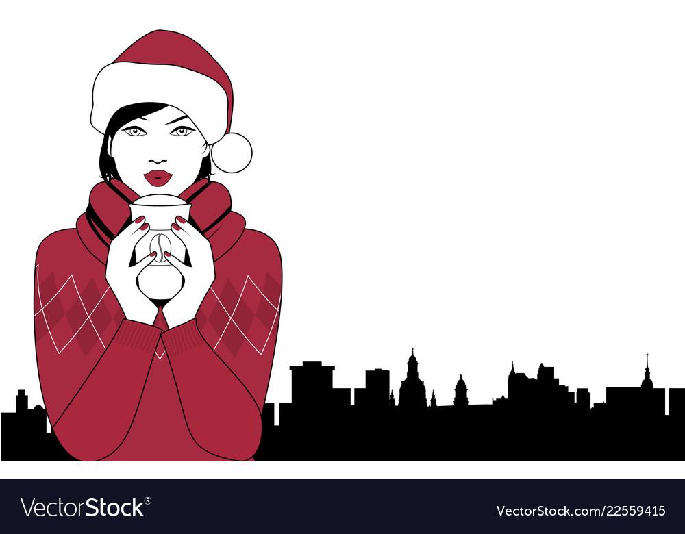 13f5f03e50213 Pretty girl wearing a santa hat drinking a hot Vector Image