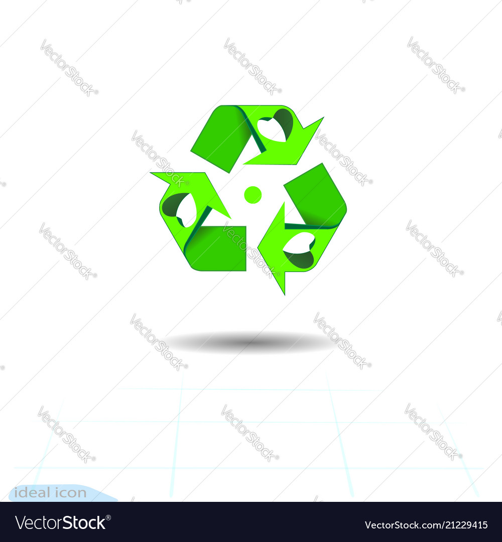 Stylish Sketch Recycle Symbol With Love In Heart Vector Image