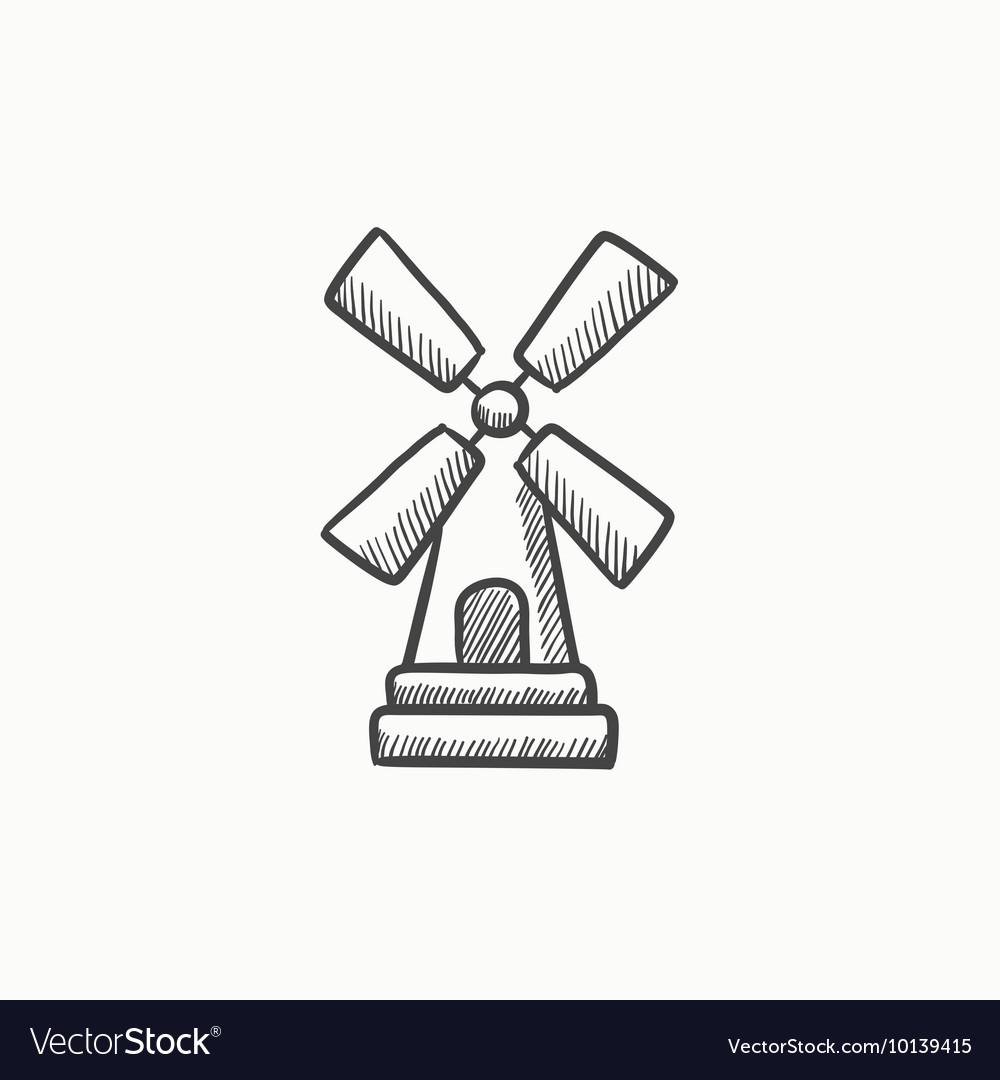 farm windmill drawing. Windmill Sketch Icon Vector Image Farm Drawing