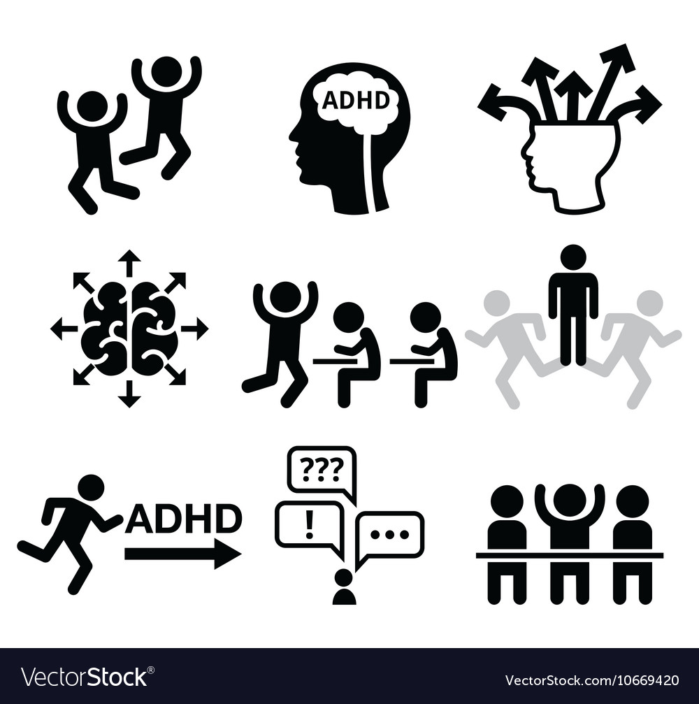ADHD - Attention deficit hyperactivity disorder vector image