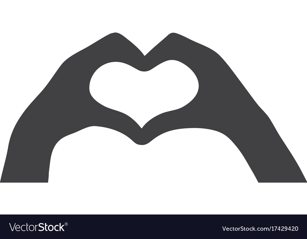 Black silhouette of the heart of the hand love vector image