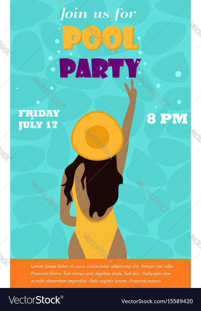 Bright invitation template for the pool party with bright invitation template for the pool party with vector image maxwellsz