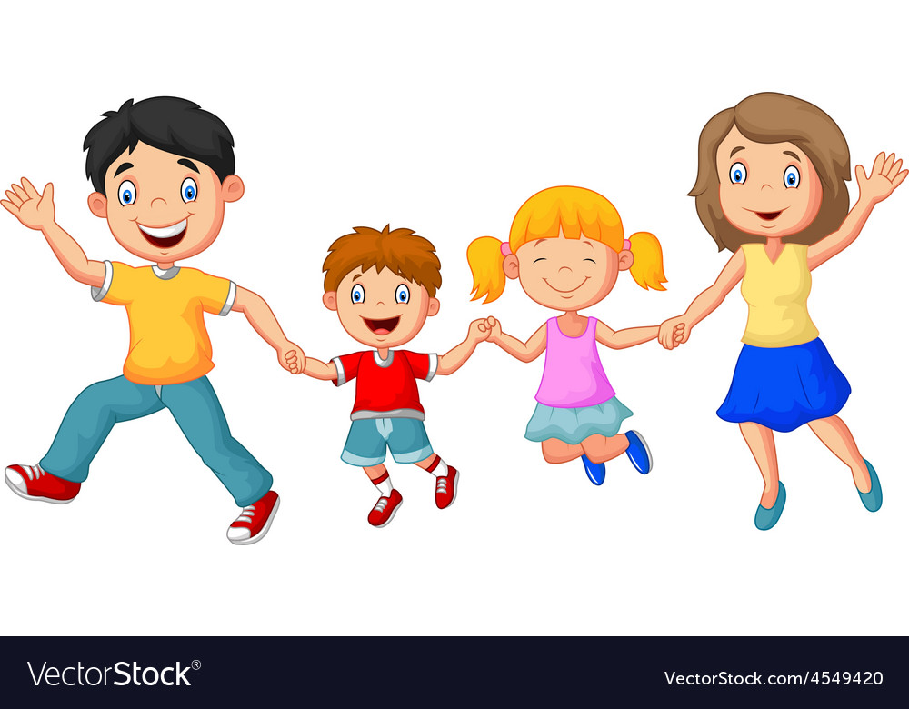 Cartoon Happy Family Waving Hands Royalty Free Vector Image
