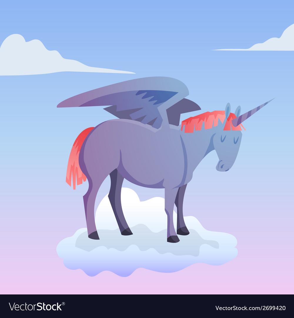 Cartoon magic unicorn pegasus