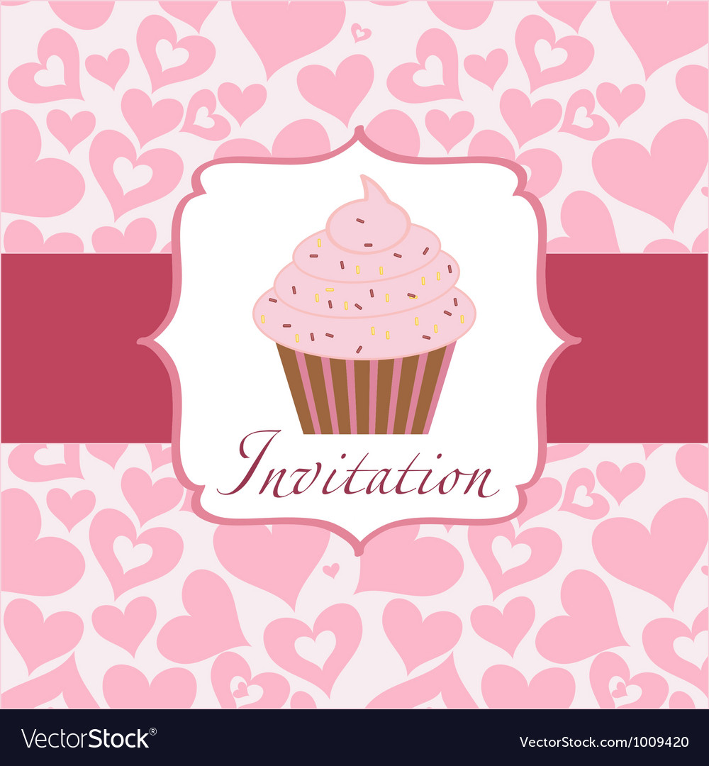 cupcake invitation background royalty free vector image