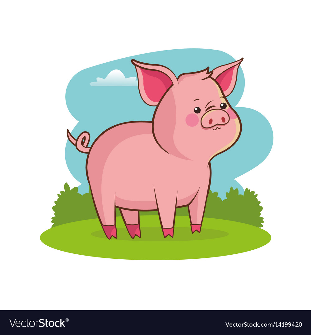Cute pig animal baby with landscape vector image