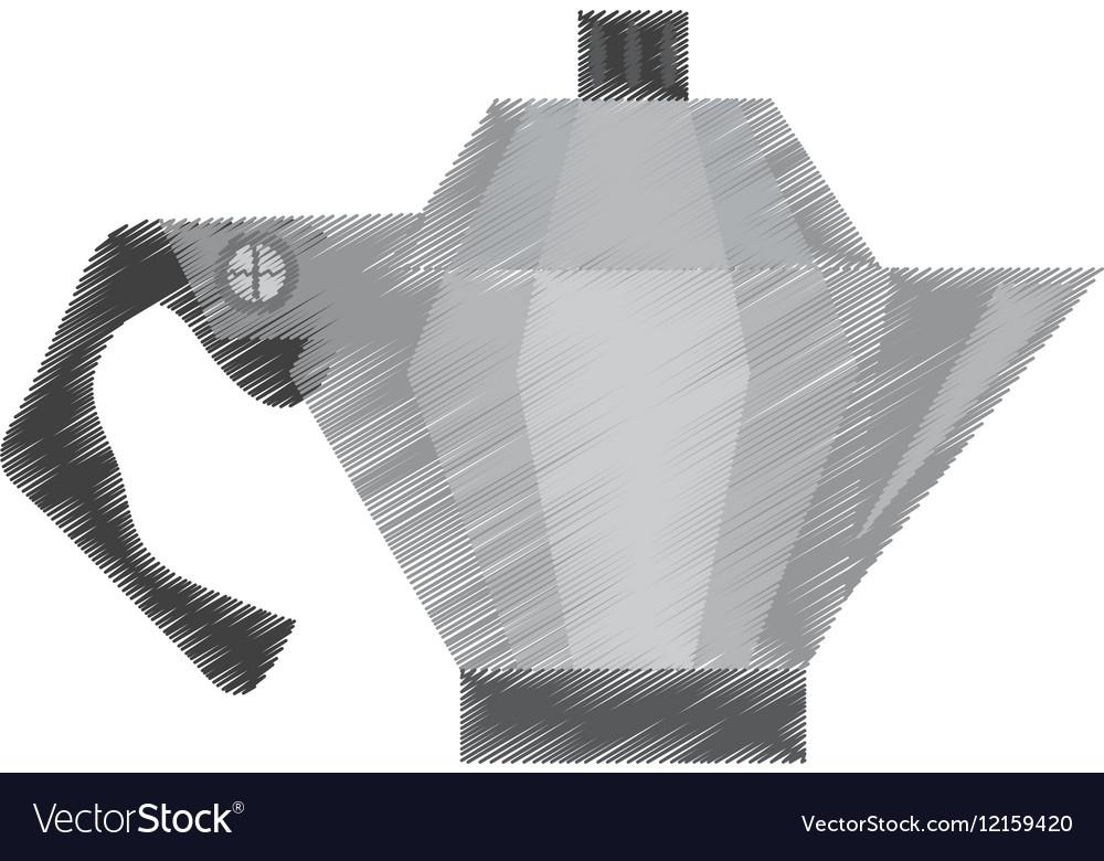 Drawing steel kettle coffee tea cookware vector image