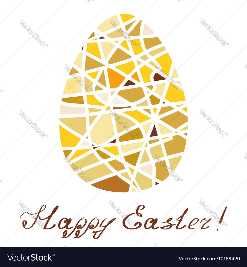Easter decorative element Yellow mosaic egg with