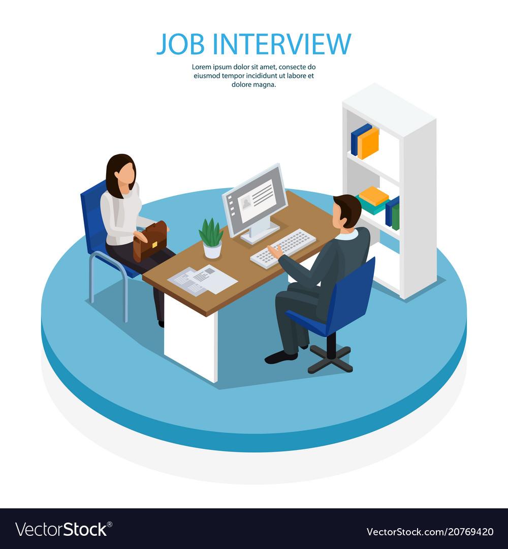 Employment recruitment isometric background vector image
