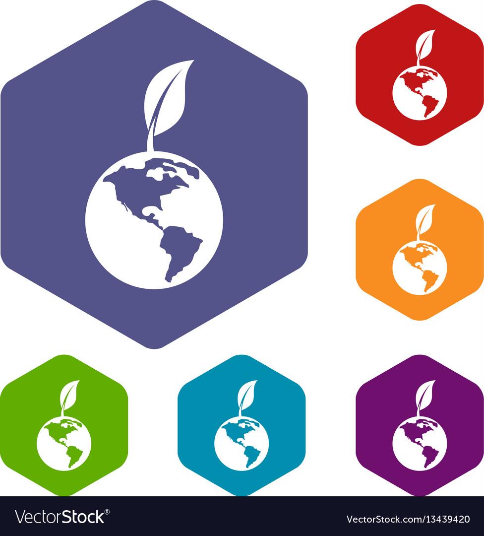 Green world qlobe with leaf icons set
