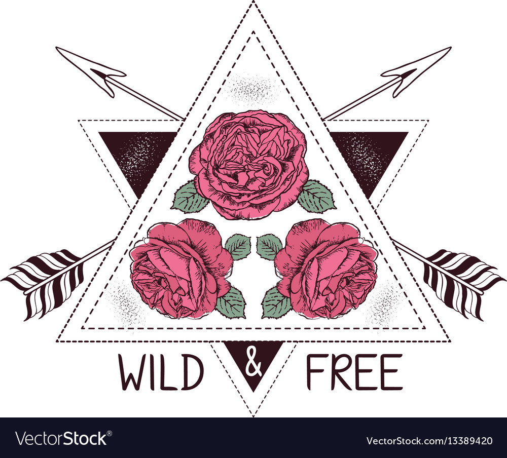 Hand Drawn Boho Style Design With Rose Flower And
