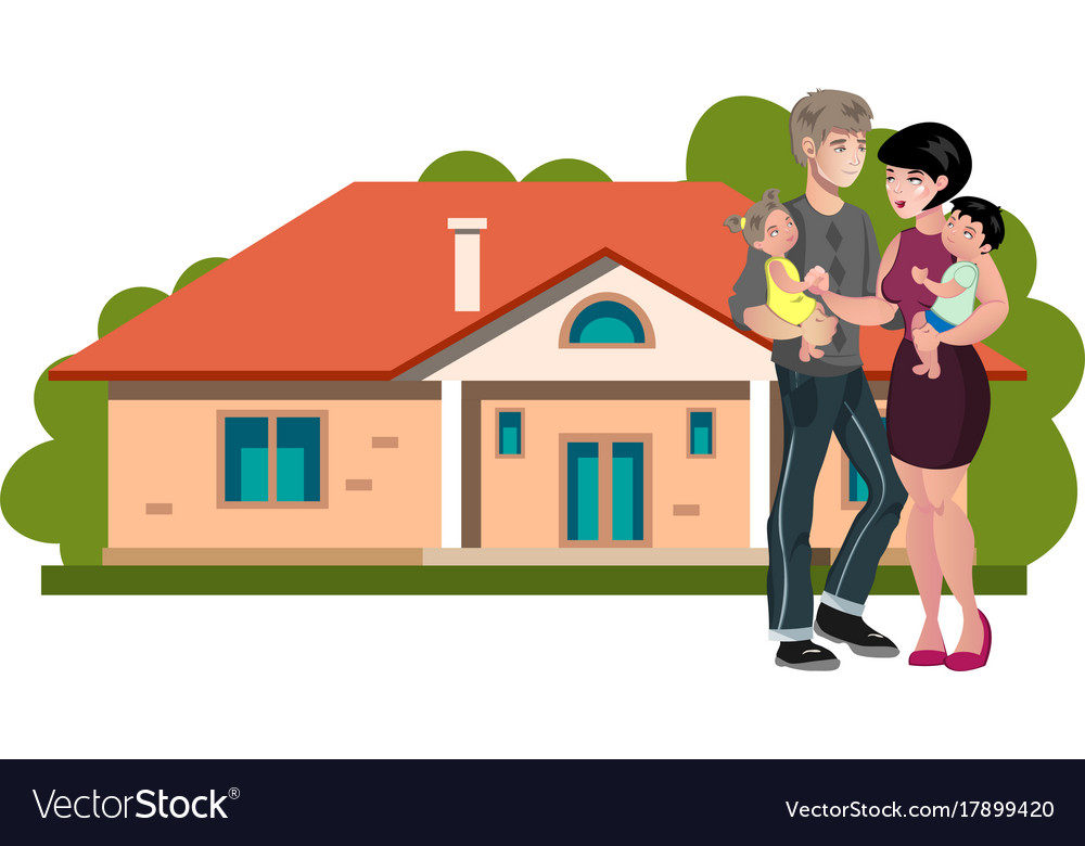 Happy family with new his home