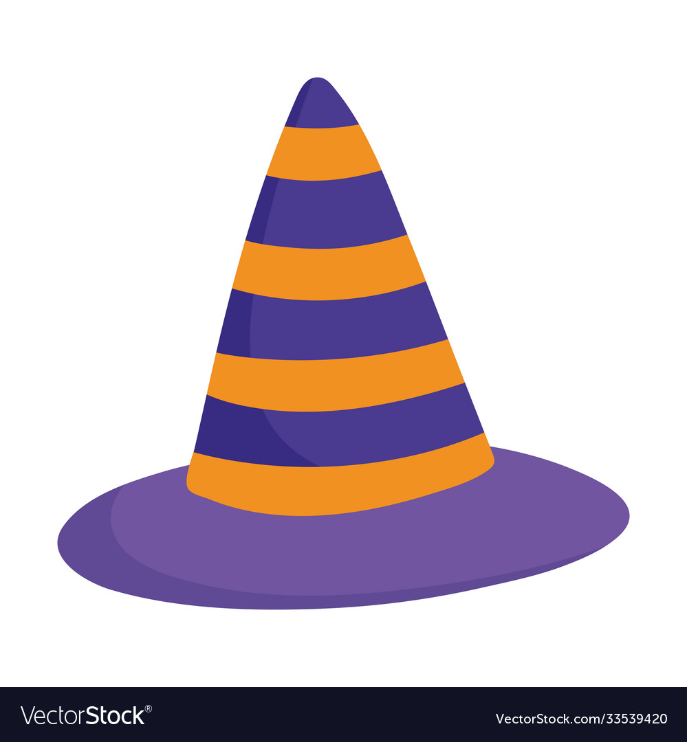 Happy halloween striped witch hat trick or treat