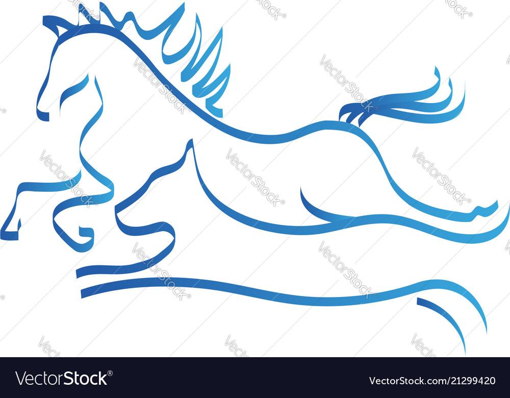 Horse and dog line art logo symbol