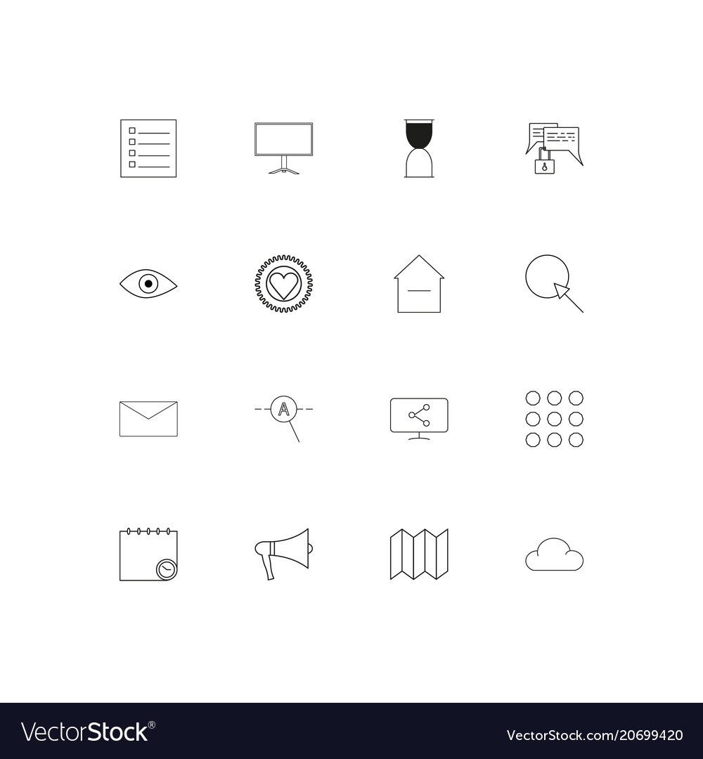 Interface simple linear icons set outlined icons