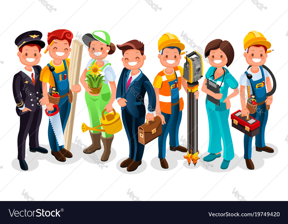 Labor Day Cartoon Characters Royalty Free Vector Image