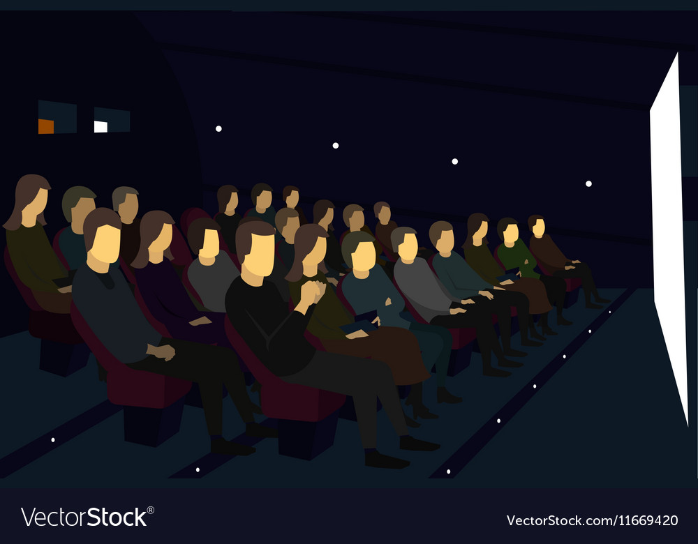 People sitting in a movie theater Watch camera vector image