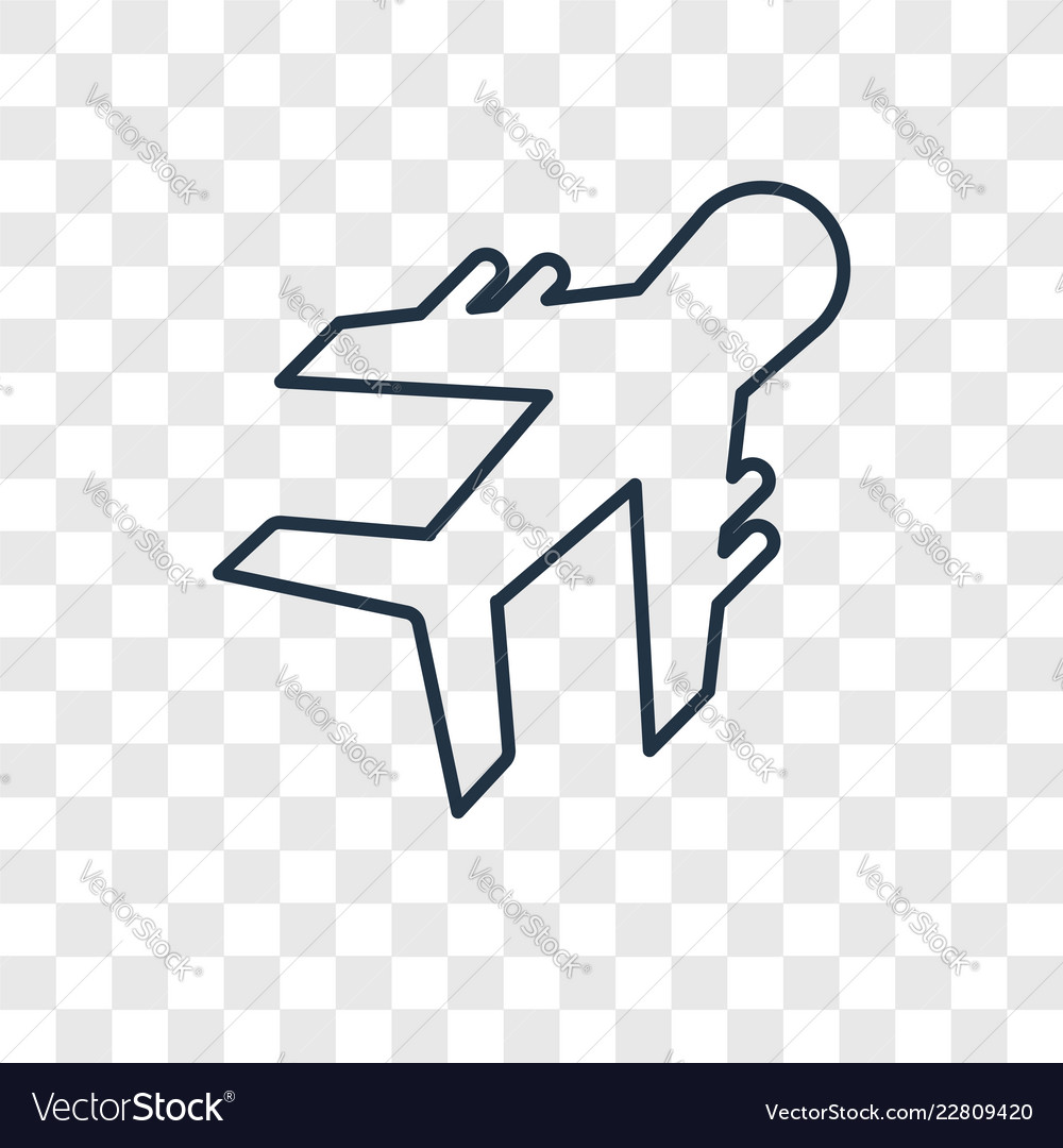 Plane Concept Linear Icon Isolated On Transparent Vector Image