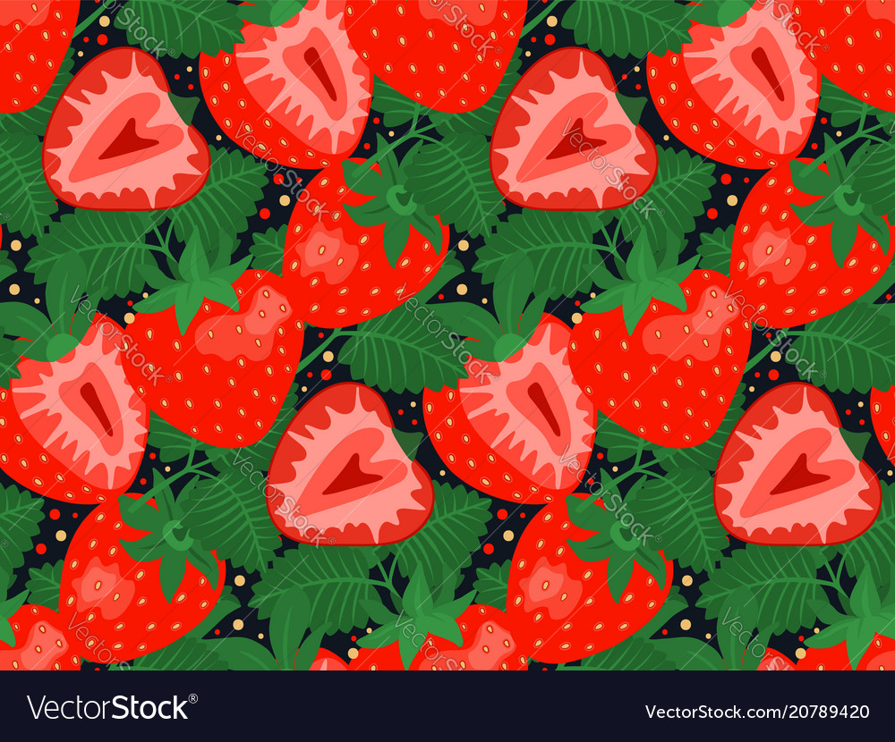 Seamless pattern with strawberries and leaves