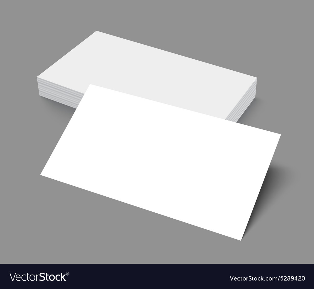 Stack of blank business card on gray background vector image