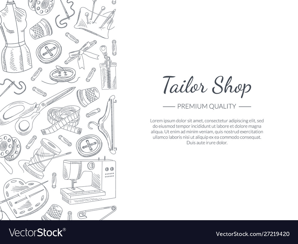 Tailor shop banner template with hand drawn sewing