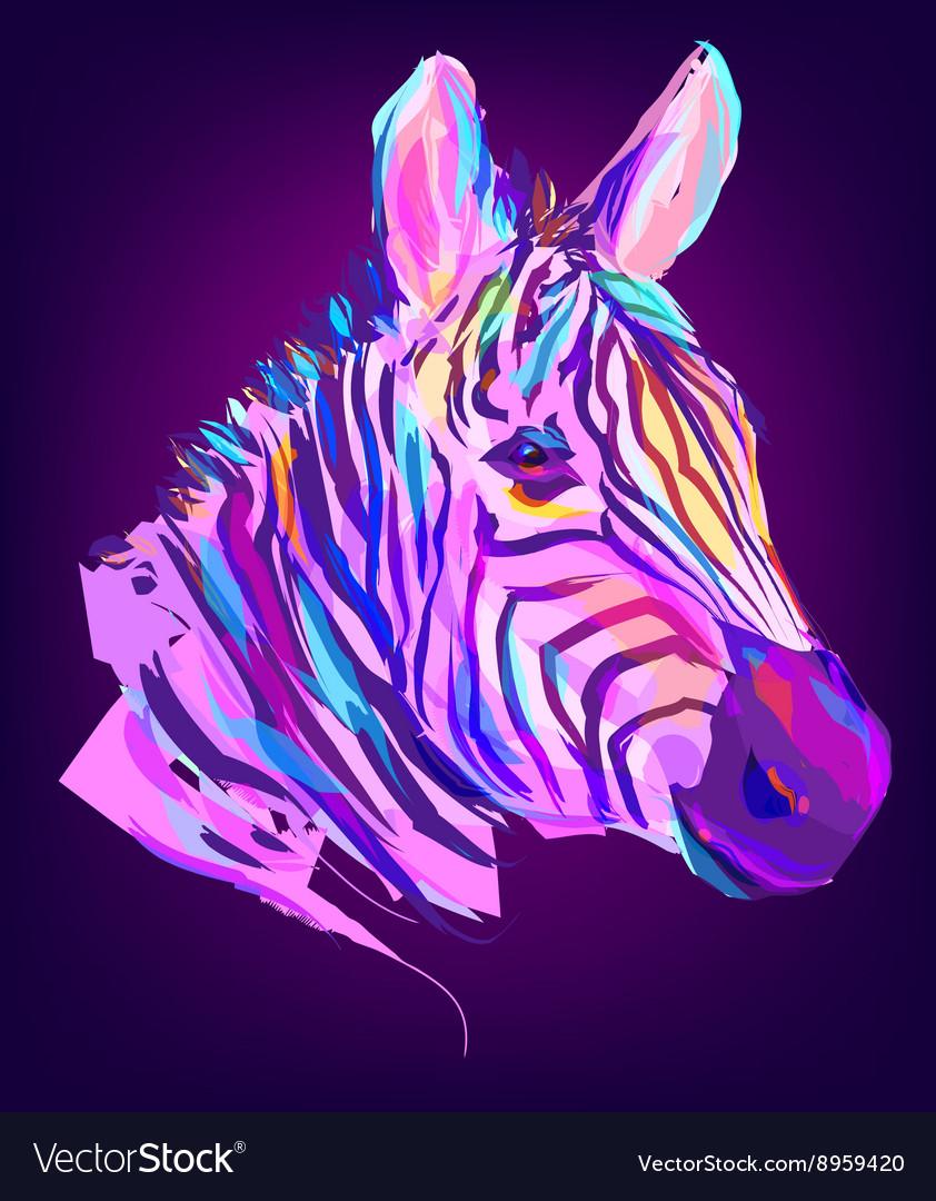 The cute colored zebra head
