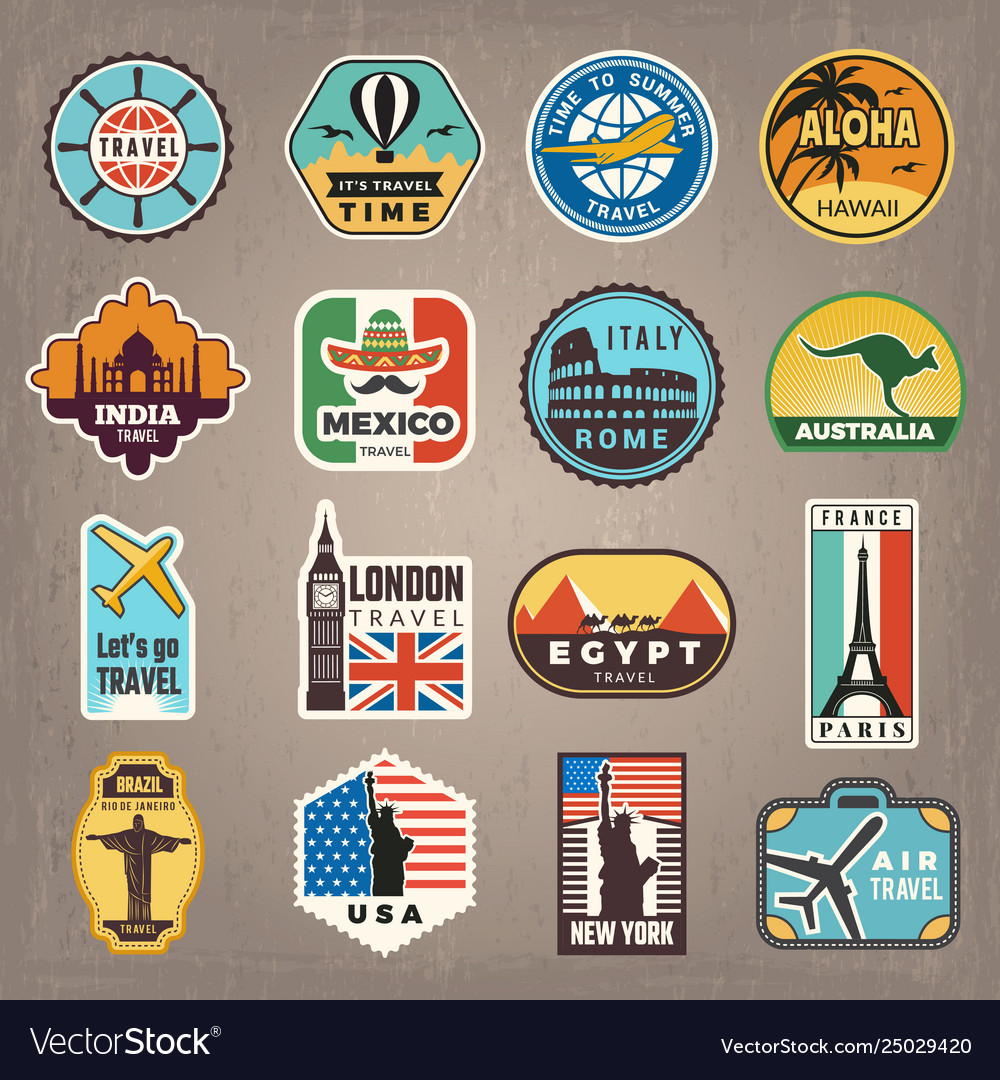Travel stickers vacation badges or logos for