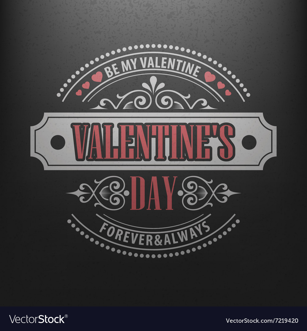 Typography Postcard Happy Valentine Day on a