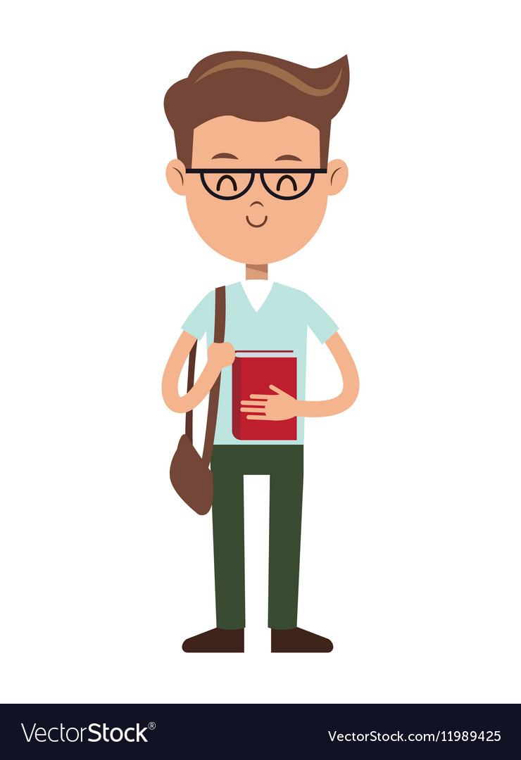 Back to school boy nerd book glasses and bag vector image