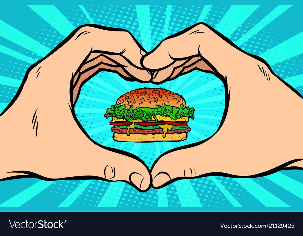 Burger hand gesture heart