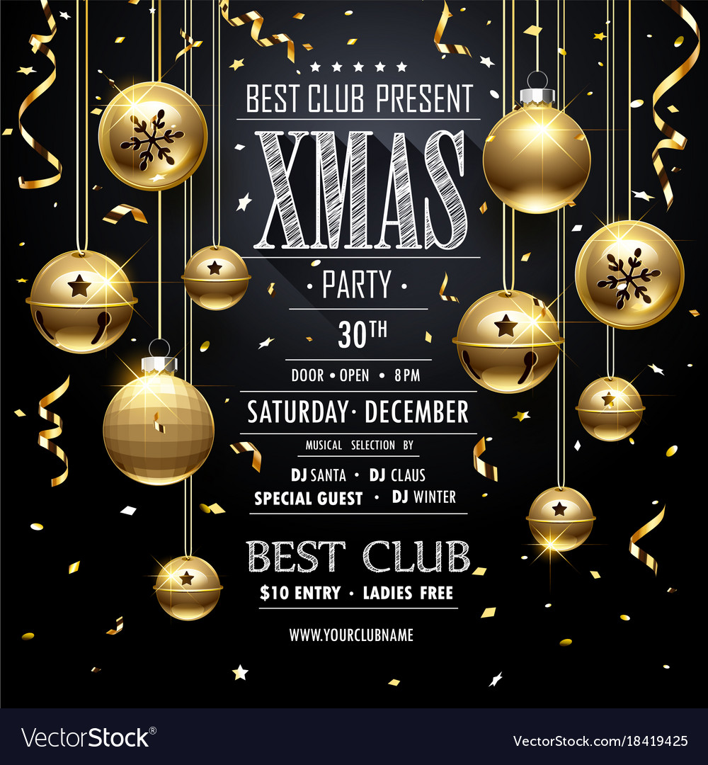 Christmas party design black vector image