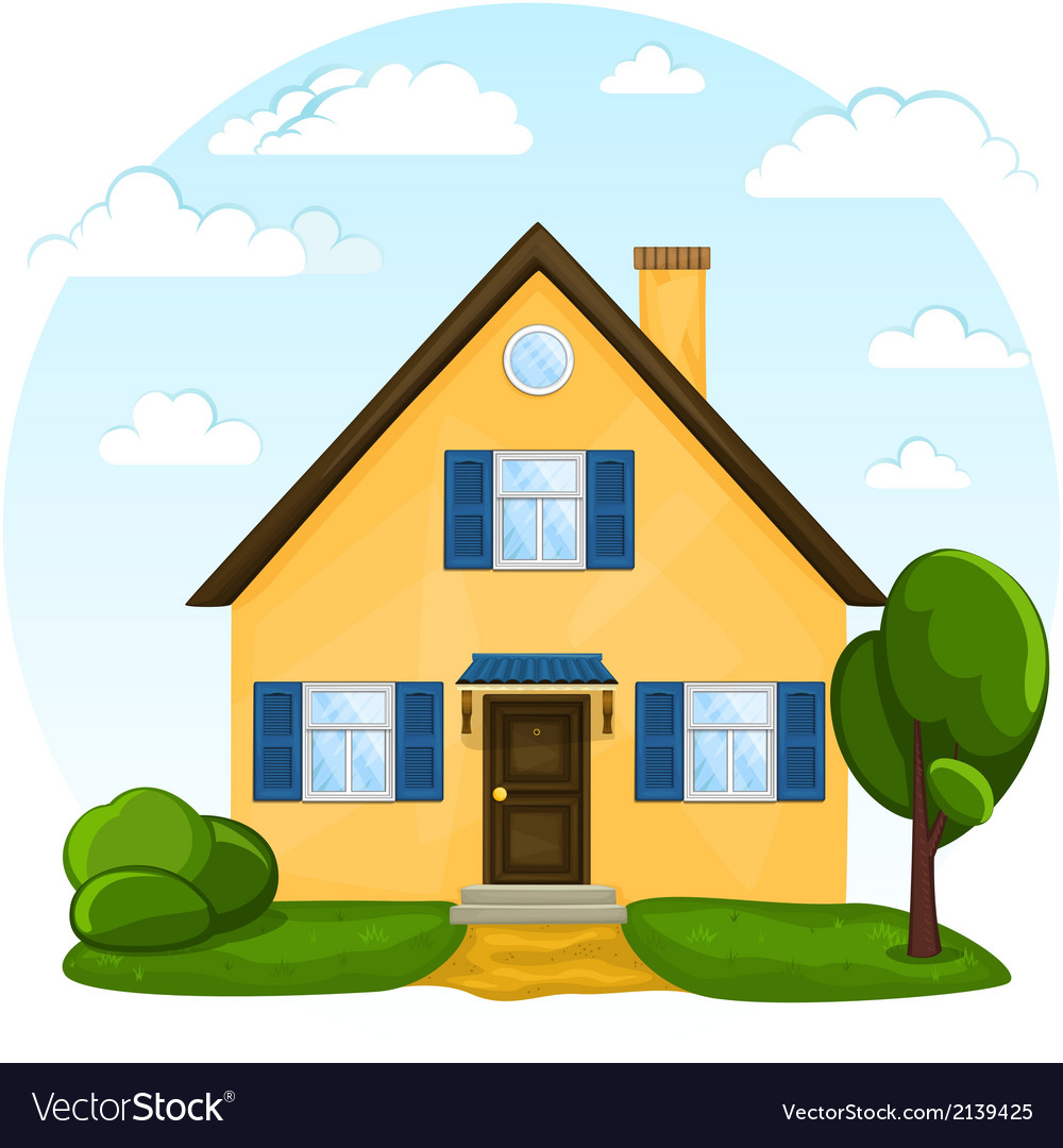 Cute cartoon house Royalty Free Vector Image - VectorStock