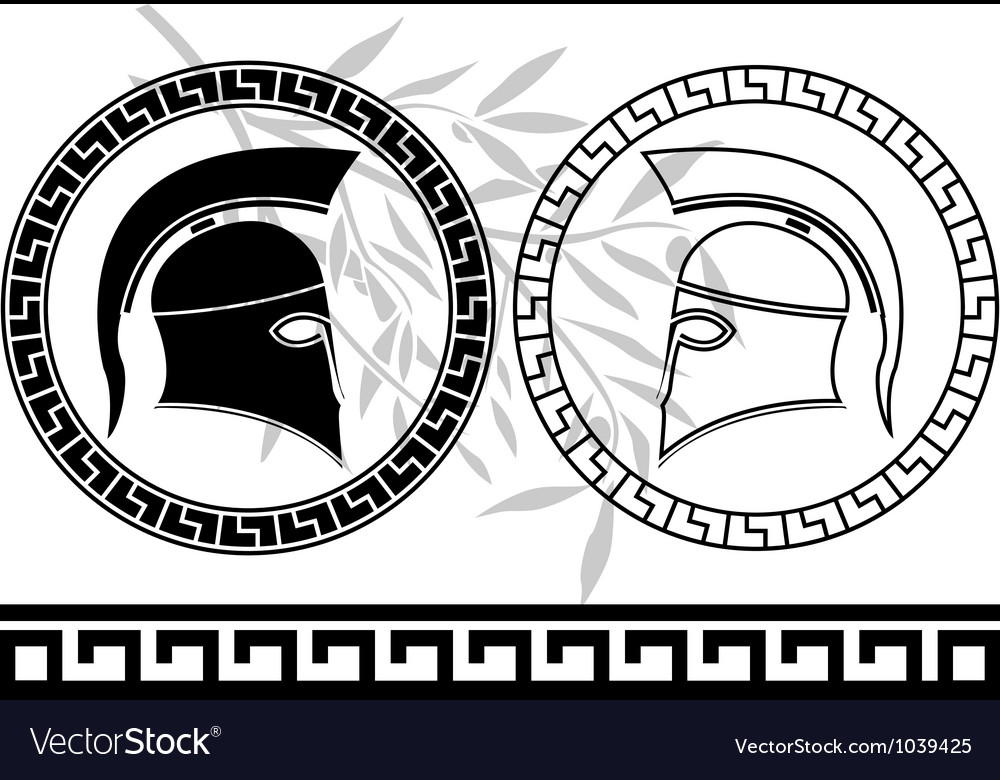 Hellenic helmets and olive branch vector image