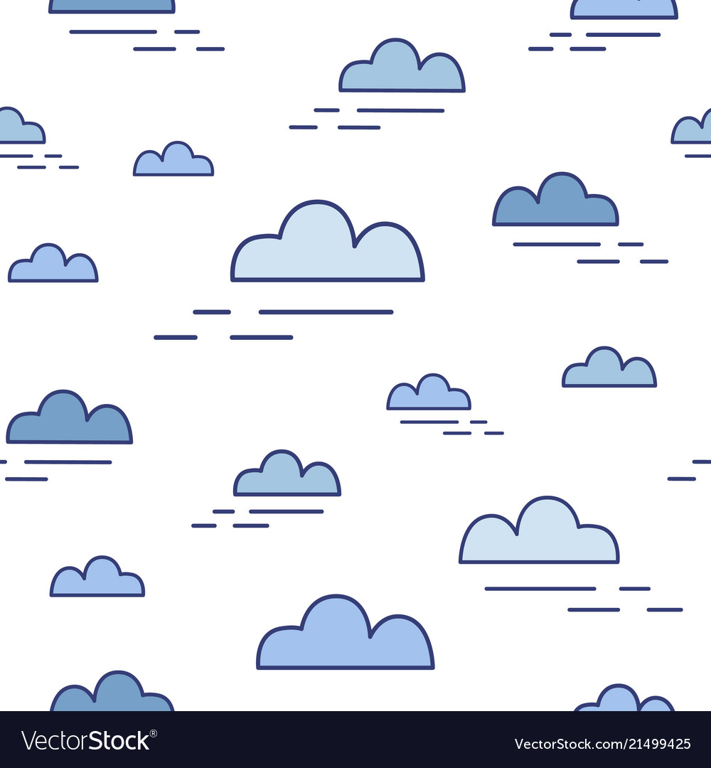 Modern seamless pattern with clouds of different