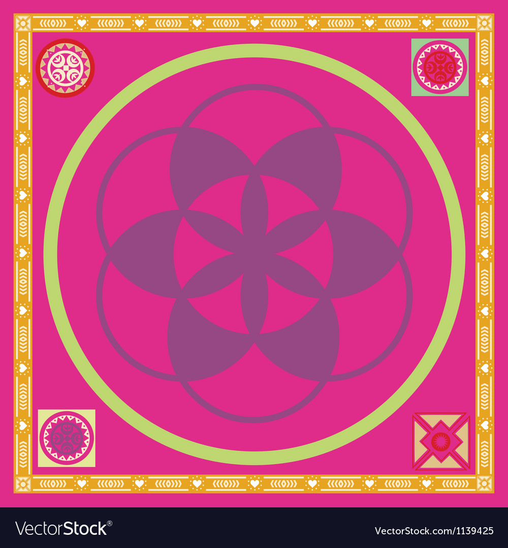 Ornamental poster with flover of life seed