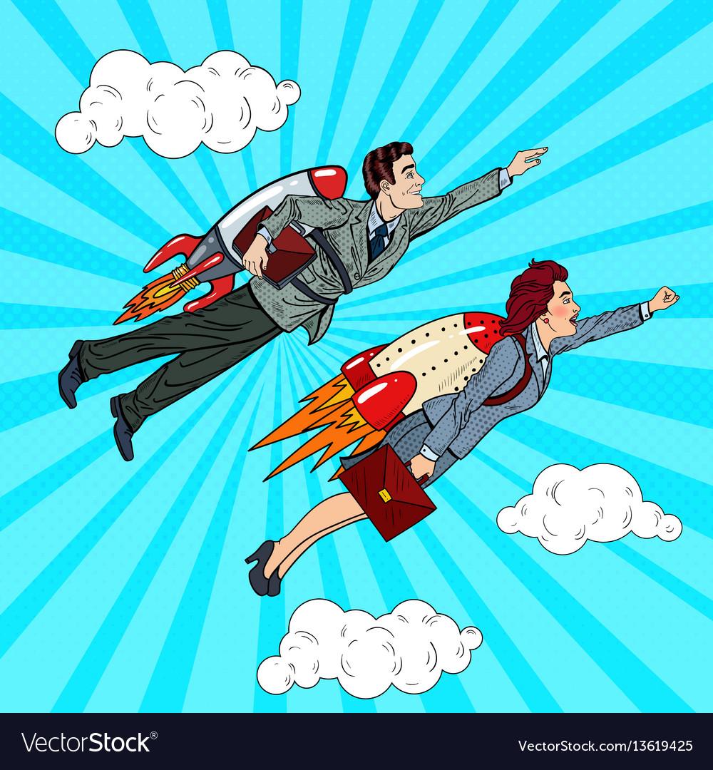 Pop art business people flying on rockets
