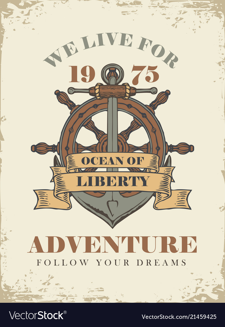 Retro travel banner with ship anchor and helm