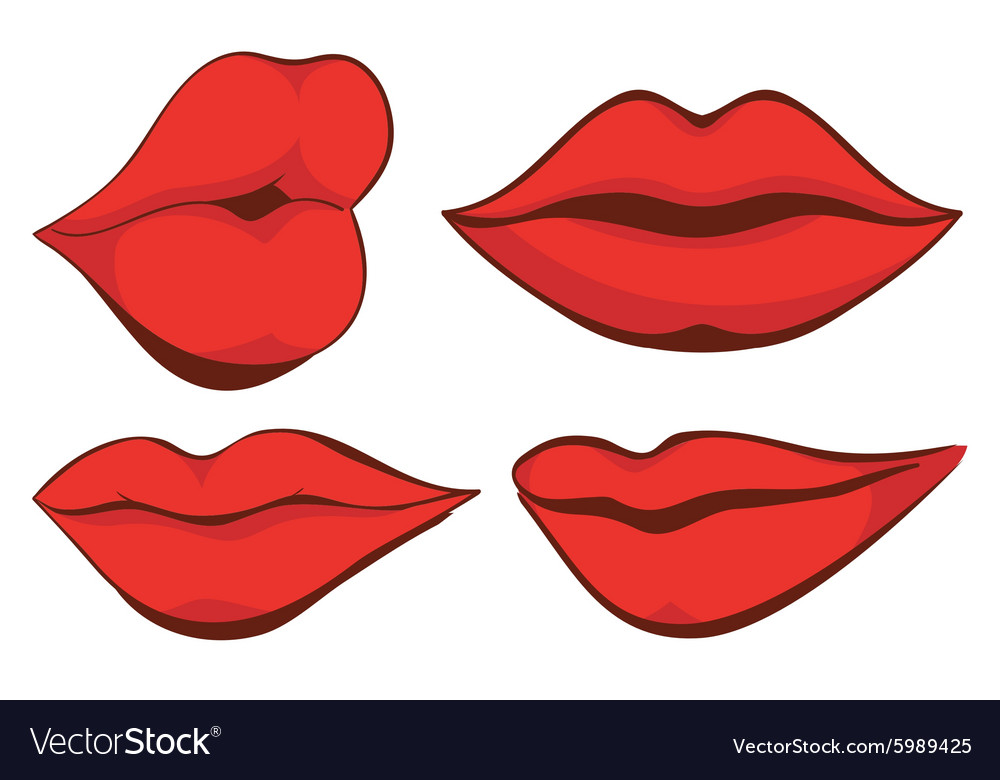 set sexy red female lips royalty free vector image rh vectorstock com lips vector free lips vector free download eps