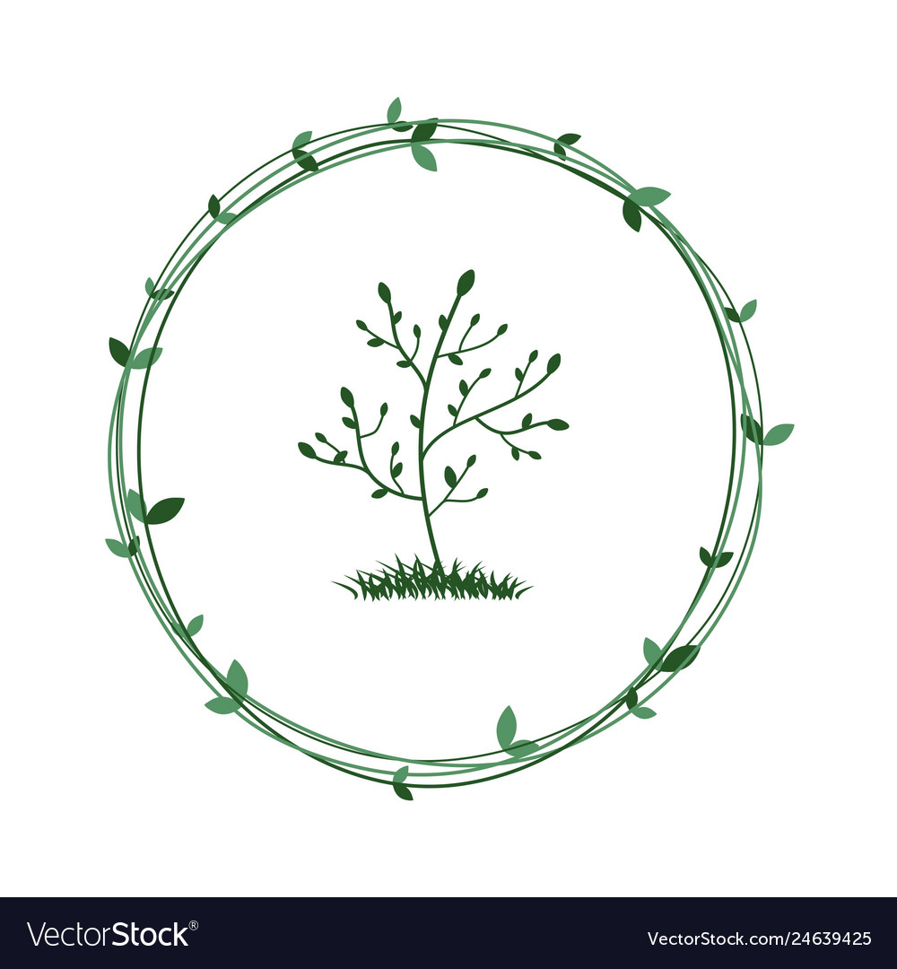 Tree in a green wreath ecological symbol of
