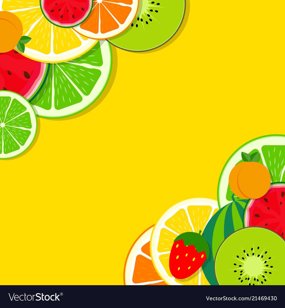 Abstract mixed flat fruit background