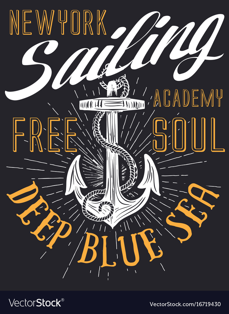 Anchor sailing academy t shirt design vector image