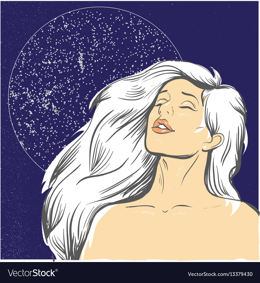Blond woman at night with moon stock