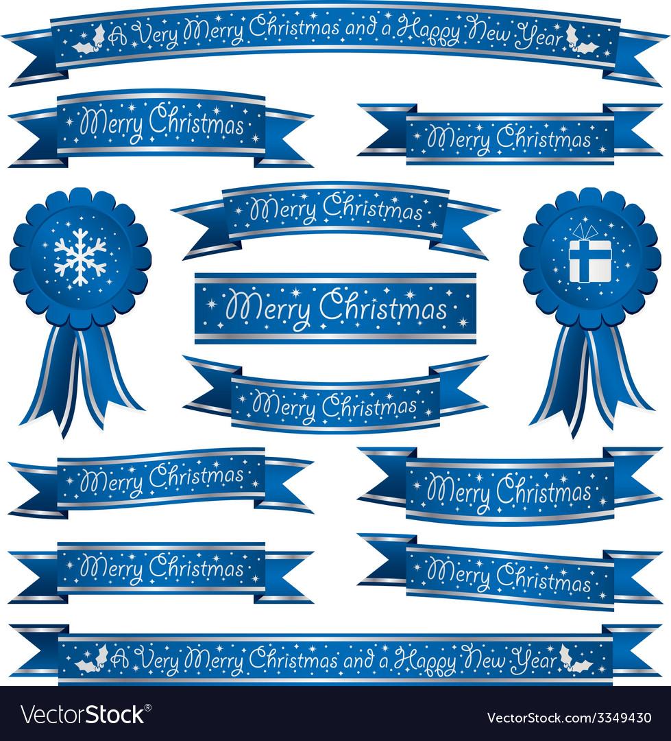 Merry Christmas Ribbon Clipart.Blue Christmas Ribbons