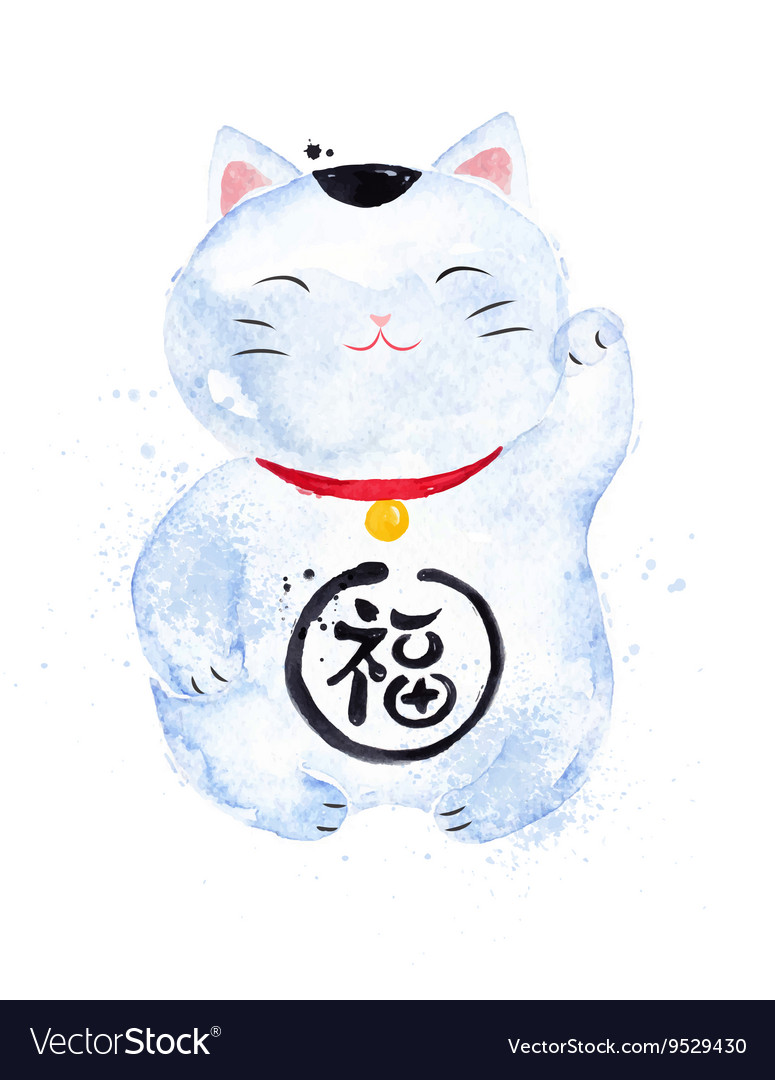 Chinese Symbols Lucky Cat Royalty Free Vector Image
