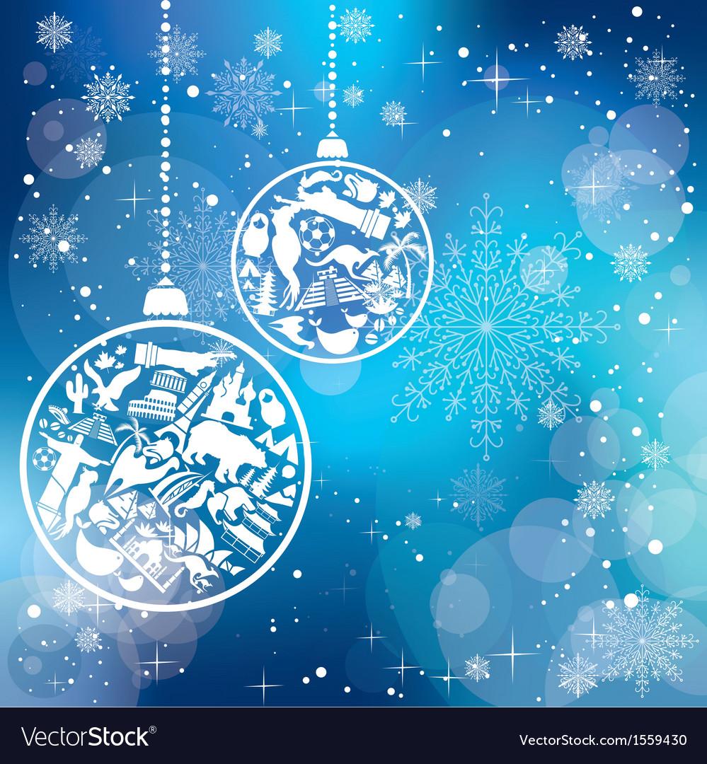 Christmas card with landmarks symbols