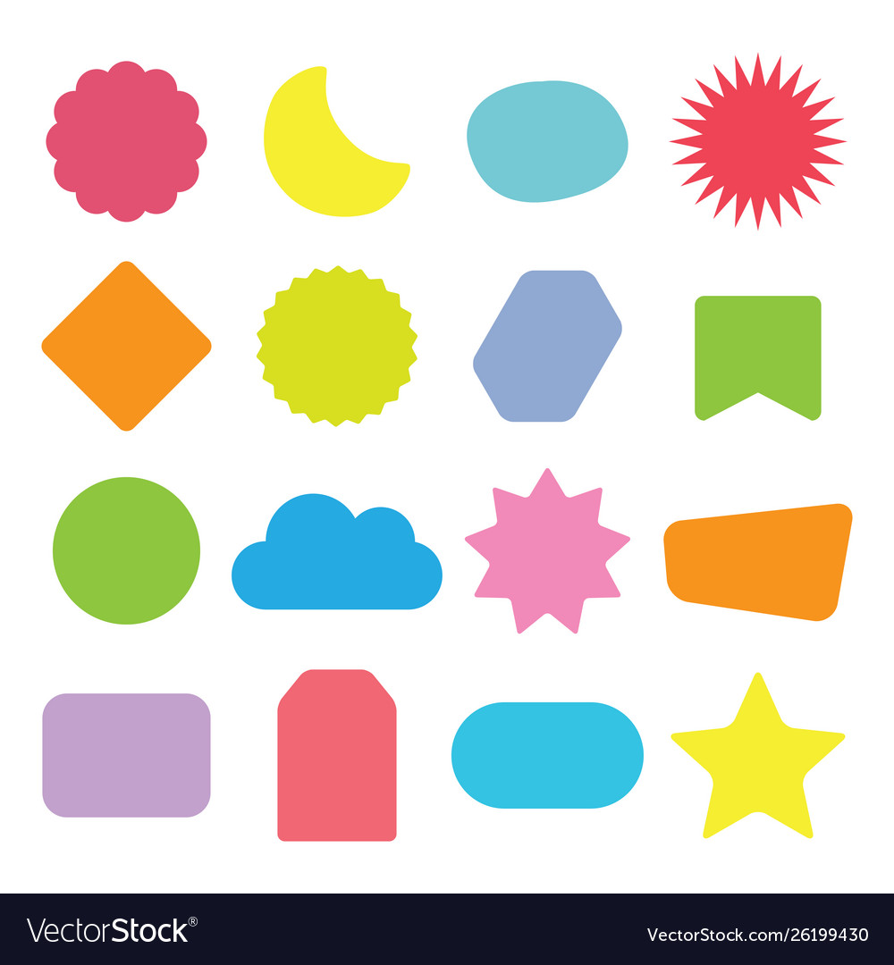 Colorful and isolated kids shapes icons set