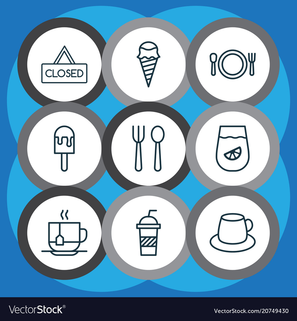 Eating icons set with tea silverware soft drink vector image