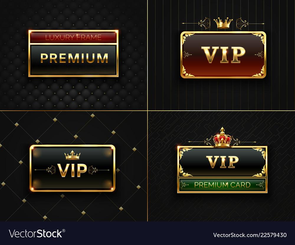 Golden vip frame premium banner with gold